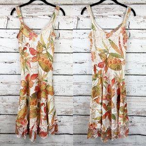 Komarov A-Line Floral Print Sleeveless Midi Dress